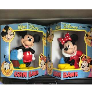 Mickey & Minnie Coins Bank (Design from 1990's & Brand New)