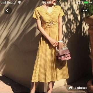 Yellow/mustard plaid dress
