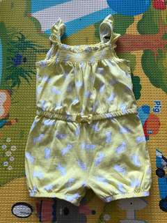 Carter Baby Yellow Romper with Dog Prints All Over 12M