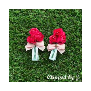 Handmade Hair Clip - Red Roses Bouquet