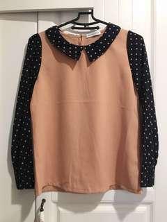 🚚 日系品牌雪紡點點襯衫