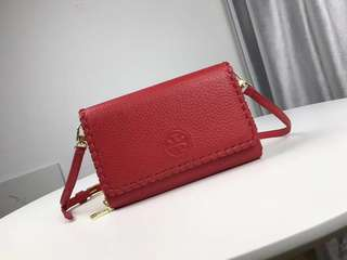Tory Burch Marion Flat Wallet Crossbody- red