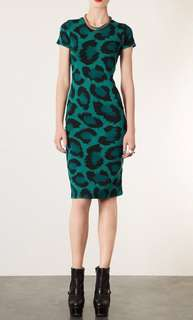Topshop Green Leopard Print Midi Dress