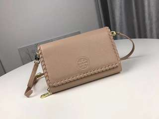 Tory Burch Marion Flat Wallet Crossbody- beige