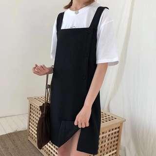 [PO] side slit button up pinafore dress