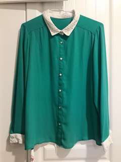 🚚 綠色雪紡襯衫(日本購入)
