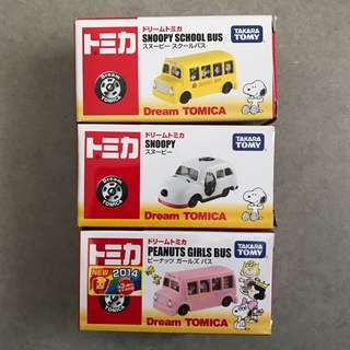Dream Tomica Snoopy School Bus & Snoopy & Peanuts Girls Bus