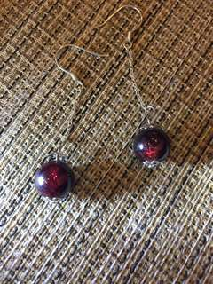 🚚 天然寶石-石榴石耳環