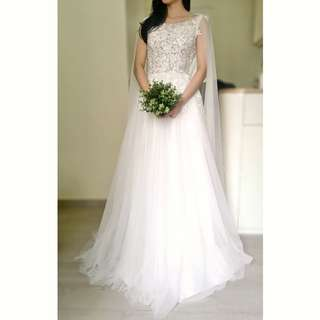 A-line Wedding Gown with Bateau Neckline and Cape