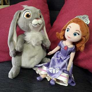 Sofia the first and Clover plush toys