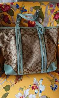 Authentic Coach Light Blue Sequinned Large Tote