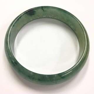完美冰糯藍水飄花帶蜜糖黃玉鐲 (55.5mm)