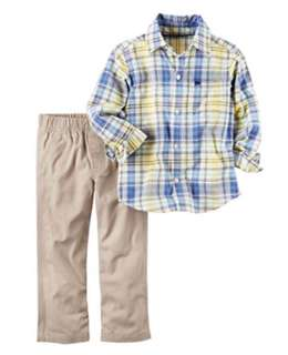 *24M* BN Carter's 2-Piece Plaid Button-Front & Canvas Pant Set  For Baby Boy
