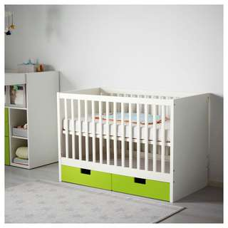 IKEA baby cot with drawers and mattress