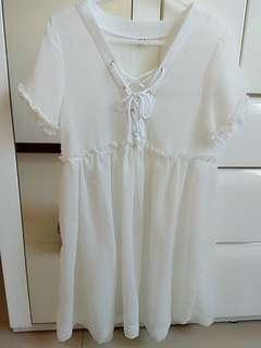 🚚 抽繩透膚雪紡洋裝#100元好物