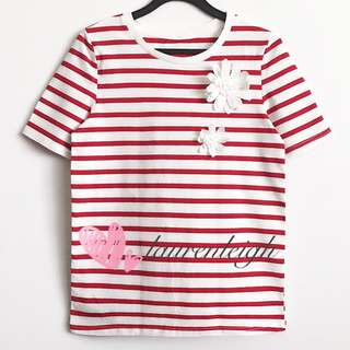 Floral Applique Stripes Tee In Red White
