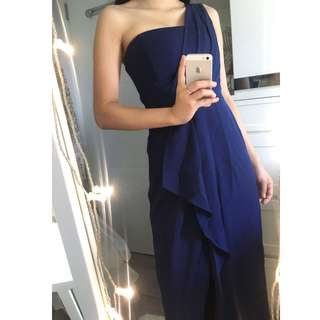 BCBG Navy One Shoulder Draped Thigh Slit Wrap Maxi Dress Evening Gown