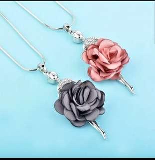 P2mart✌✔Pre order stock ✔Elegant Pink &Gray Velvet Gray Flower Dancing Angel Girl Pendant Long Necklace