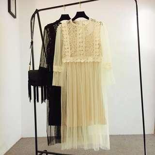Korean style lace dress 韩版甜美蕾丝拼接网纱百褶长袖连衣裙纯色气质吊带裙子两件套