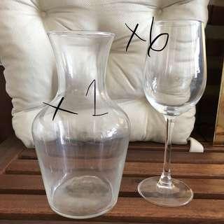 玻璃酒杯6隻連醒酒器1個