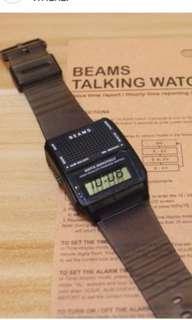 日本 Beams Talking Digit Watch 跳字手錶 有提示功能  炭灰色 apc bathing ape Supreme Casio