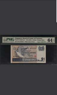 D/44 444444 Singapore Bird $1 Super Solid PMG 64 Choice UNC EPQ Rare