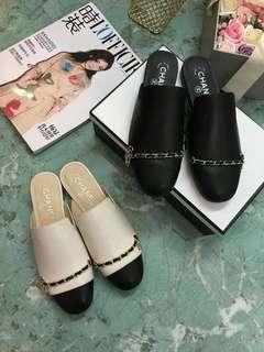 時尚小香鏈條半拖鞋