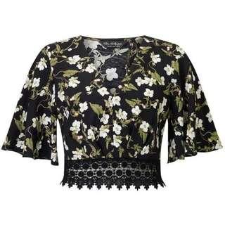Miss Selfridge Floral Crop Top with Crochet Hem