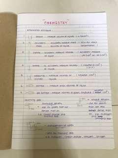 Handwritten chemistry notes