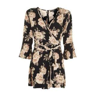 TOPSHOP Floral Playsuit with waist tie
