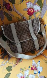 Authentic Gucci White Monogram Messenger Bag