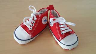 New born baby red shoes