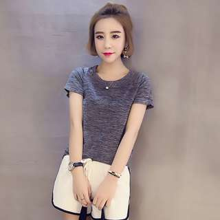 Women's Korean-style Quick Dry Elastic Short Sleeve T-Shirt