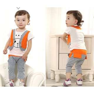 【預購】SE - 童裝(520723):棉質!熊熊*兩件式套裝組(尺寸:100碼,90碼,110碼,80碼)_免運。