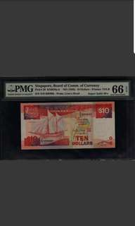 D/9 999999 Singapore Ship $10 Super Solid PMG 66 Gem UNC EPQ Rare