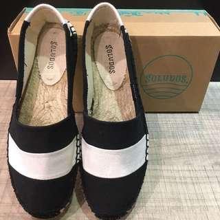 Soludo粗橫條草編鞋