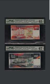 Matching F/7 777777 Singapore Ship $10 & $50 Super Solid PMG 67 & 66 Superb Gem UNC Very Rare