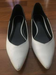 Charles and Keith white pointed flats