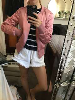 Pink H and M bomber jacket