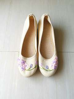 Espadrille wedge shoes 草鞋