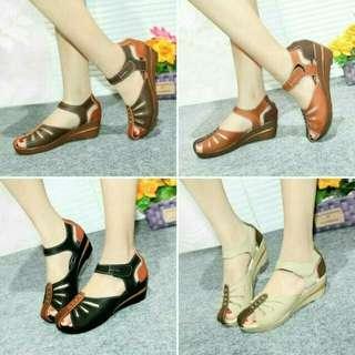 Sandal wedges sandal wanita kulit