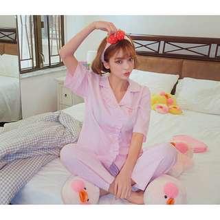 strawberry milk pajama set 草莓牛奶系列甜美荷葉邊設計睡衣 ( CHUU 官網代購 ) 家居服