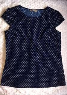 Forecast Navy Blue & White Polka dots Blouse