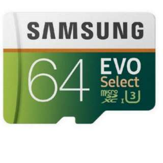 4K Samsung 64GB 100MB/s U3 MicroSDXC EVO Select Memory Card