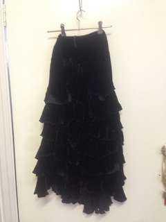 Black velvet tassle skirt