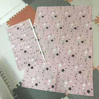 Pink Gray Star Print Baby Bed Sheet Crib Sheet Comforter Cover Aprica Coconel