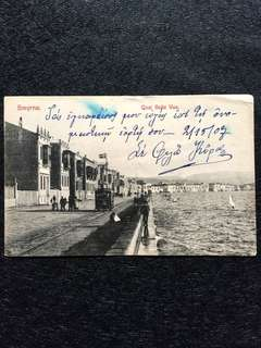 Turkey 1907 Smyrna Quai Belle Vue Postcard Used, Austria to New York USA. Stamp missing.