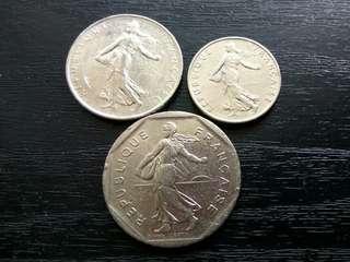 1970s France 2, 1, 1/2 Francs Coin
