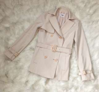 Beige Belted Double Breasted Trench Coat
