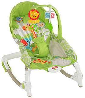 費雪牌 北鼻安撫躺椅 Fisher-Price newborn to toddler portable rocker. Green safari.